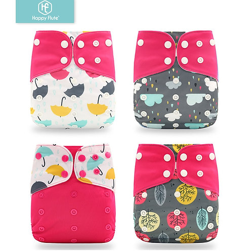 Happyflute 2020 4pcs/Set Washable Eco-Friendly Cloth Diaper Ecological