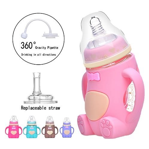 240Ml Drinking Bowl Children Silica Gel Glass Baby Bottle Feeding Little Bear