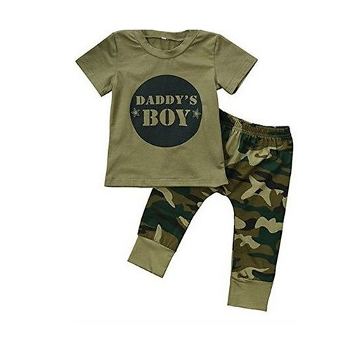 0-2 Year Old Daddy's Boy Letter Camouflage 2 Pieces.