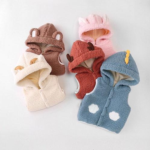Children's Vest Autumn Sleeveless Cartoon Clothes Baby Boy Girls Hooded Jacket