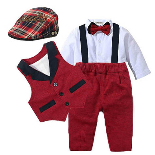Baby Suits Newborn Boy Clothes Vest + Romper + Hat Formal Clothing Outfit Party