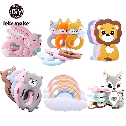 Silicone Teether Rodent Cartoon Animals 1pc Food Grade Silicone Pandents DIY