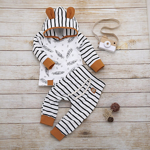 (0m-24M)Infant Long-Sleeved Leaf Hooded Top Striped Pants Suit, Hooded T-Shirt