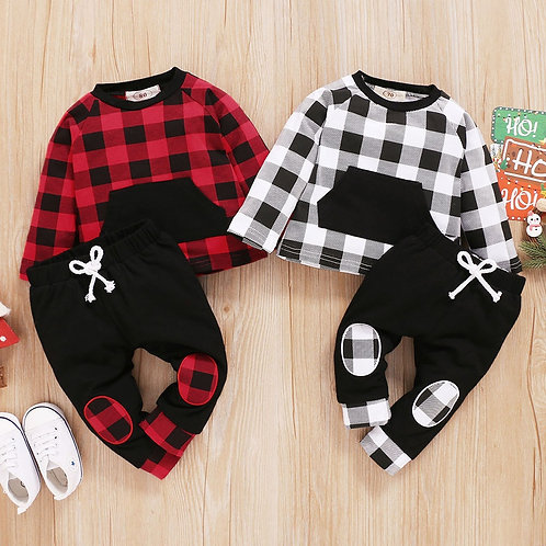 (3m-18m) Children's Suit Fashion New Winter Long-Sleeved Plaid Printed Top