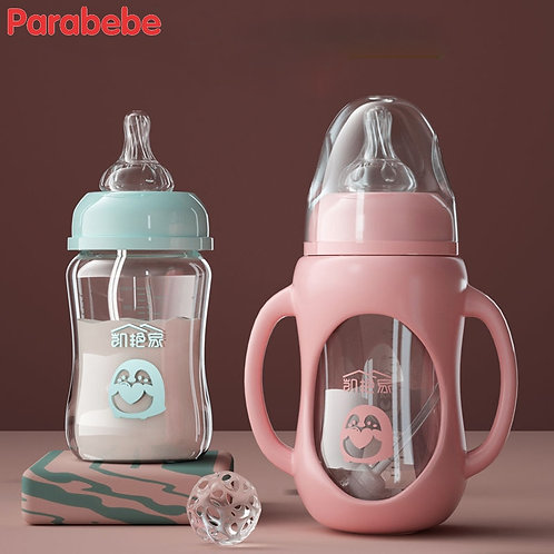 New Arrival Baby Bottle Glass Drop-Proof Baby Newborn Child Silicone Sleeve