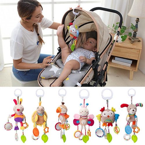 QWZ Cartoon Baby Toys 0-12 Months Bed Stroller Baby Mobile Hanging Rattles