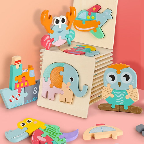 Montessori 3D Wooden Puzzle Baby Toys Educational Toys Plays Cognition Cartoon