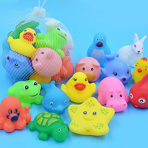 10 Pcs/Set Baby Cute Animals Bath Toy Swimming Water Toys Soft Rubber