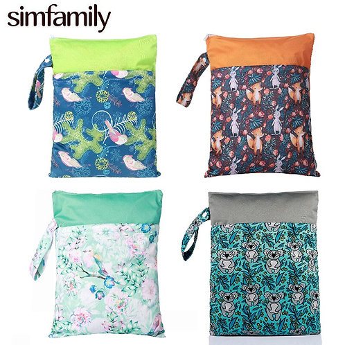 [Simfamily]Waterproof PUL Printed Diaper Nappy Bag With Snap Closure Handle Wet