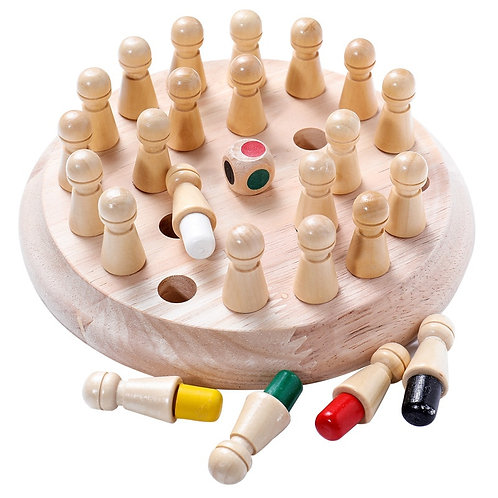Kids Wooden Memory Match Stick Chess Fun Color Game Board Puzzles