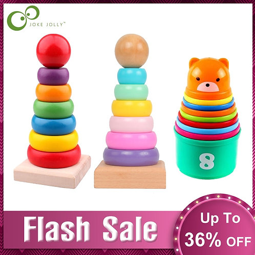 Rainbow Stacking Ring Tower Stacking Folding Cup Stapelring Blocks Wood Plastic