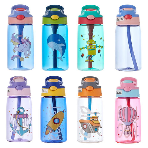 480ML Kids Water Cup Creative Cartoon Baby Feeding Cups With Straws Leakproof
