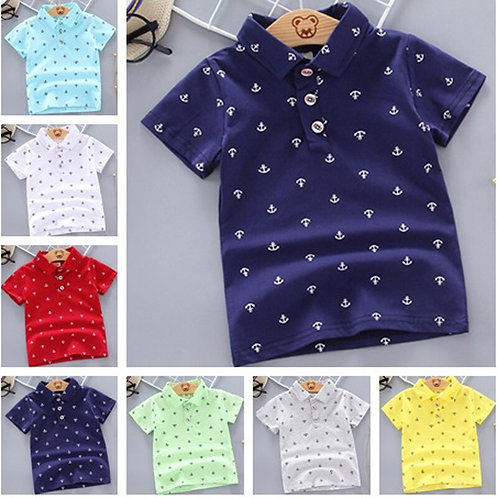2020 Summer Baby Boys Polo Shirts Short Sleeve Anchor Lapel Clothes for Girls