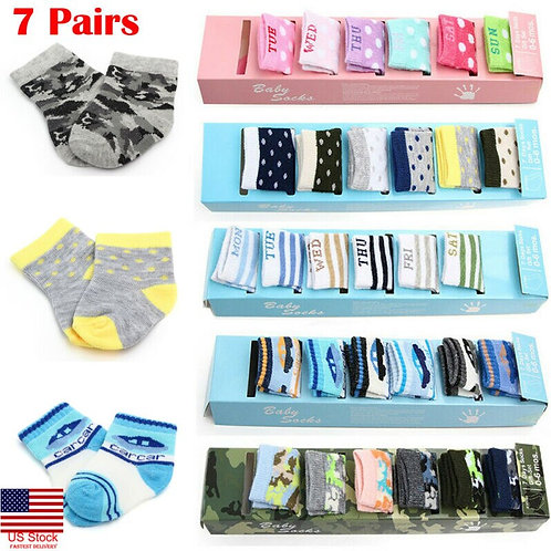 7 Pairs Casual Newborn Baby Boy Girl Cotton Sock Soft Breathable Ankle Sock 0-6m