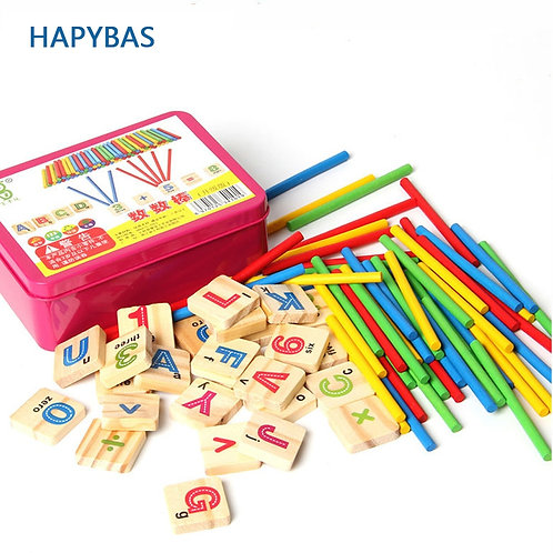 Child Wooden Mathematics Numbers Sticks Math Toys Baby Children Early Learning