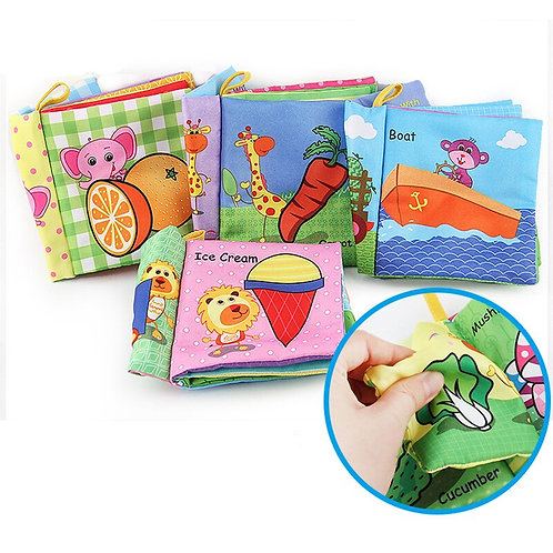 Baby Toy Infant Cloth Book Animal Style Doll Toy for 0-3y Early Development