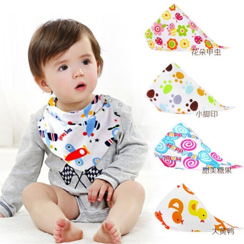 Baby Bibs High Quality Triangle Double Layers Cotton Baberos Cartoon Character