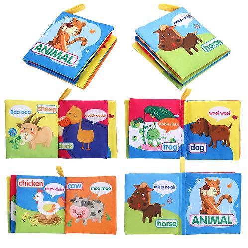 Baby Cartoon Cloth Book Toys Soft Cloth English Fruit Animal Story Book Kids