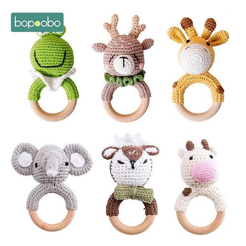 Bopoobo 1pc Baby Teether Safe Wooden Toys Mobile Pram Crib Ring DIY Crochet