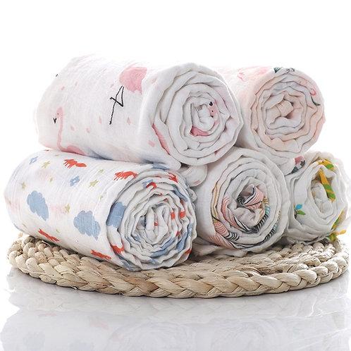 1Pc Muslin 100% Cotton Baby Swaddles Soft Newborn Blankets Bath Gauze Infant