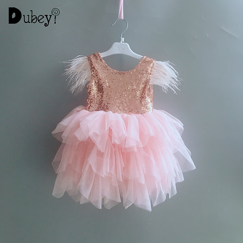 New Sequins  Baby Feather Dress Birthday Party Toddler Girls Rosa Gold Flutter
