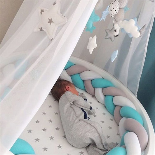 2m/3m Baby Crib Protector Knot Baby Bed Bumper Weaving Plush Infant Crib Cushion