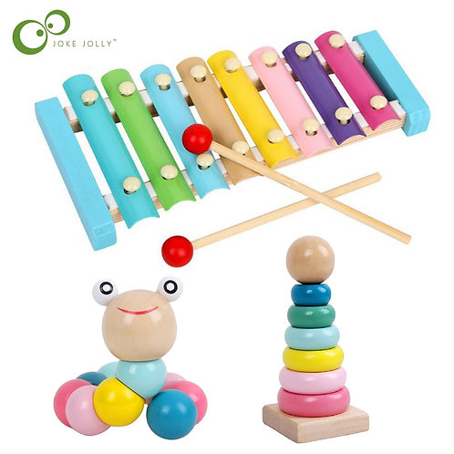 Puzzles Colorful Wooden Toys Worm Kids Learning Educational Didactic Baby