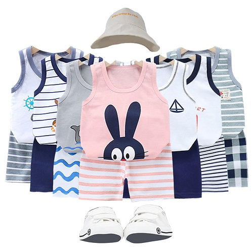 Fashion Baby Clothing Casual 2 Piece Set Toddler Clothes T-Shirts + Shorts Suit