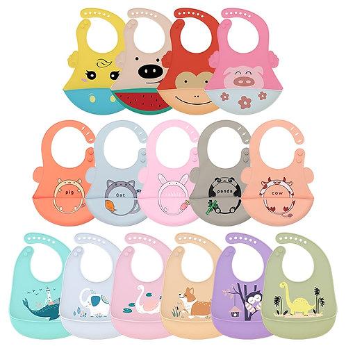 32 Choose!Silicone Baby Bibs Waterproof Baby Saliva Towel Animal Adjustable