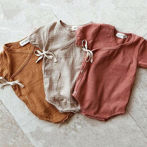 Summer Baby Boy Girls Romper Solid Color Short Sleeve Playsuit Jumpsuit Sunsuit