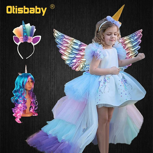 Christmas Girls Unicorn Dress With Long Tail + Wings Wig Hairband Baby Girl