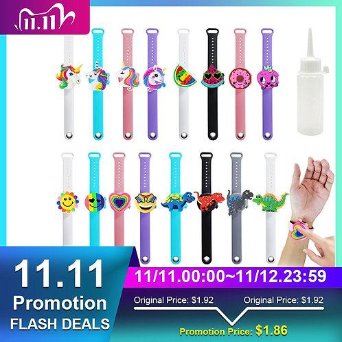2Pcs Portable Hand Sanatizer Soap Dispenser Cartoon Wristband Hand Dispenser