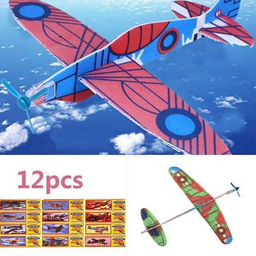 12Pcs DIY Hand Throw Aircraft Flying Glider Toy Planes Airplane Made of Foam