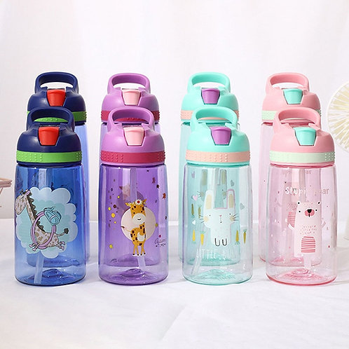 1Pcs Straw Cups Water Bottle Portable Cute Cartoon 480/650ml for Sport