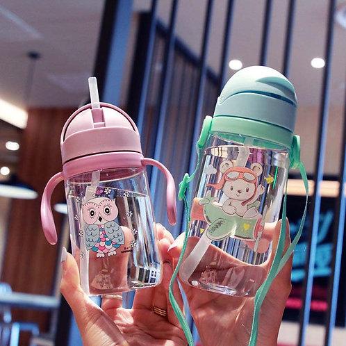 Hot 1Pcs 420ml Baby Kids Children Cartoon Animal School Drinking Water Straw