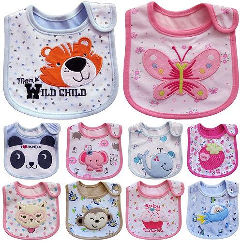 New Waterproof Baby Bibs Cotton Feeding Smock Cartoon Cute Pattern Boys Girls
