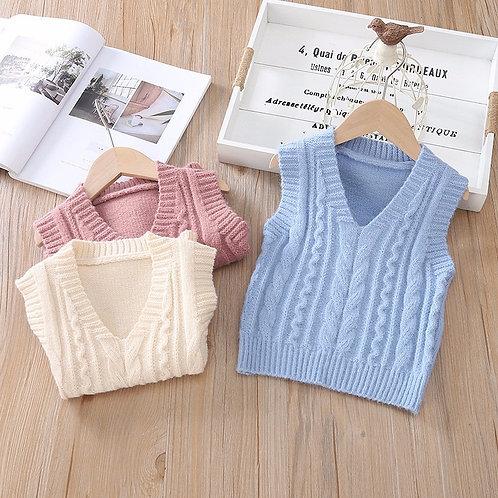 Baby Kids Boys and Girls V-Neck Sleeveless Twist Knit Woolen Vest