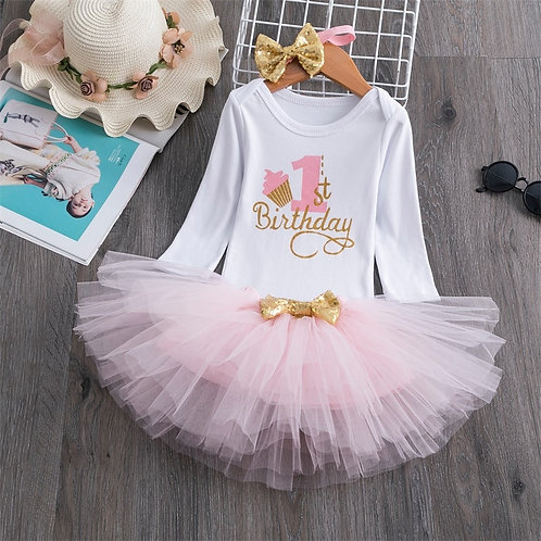 Baby Girl One Year Dress Cute 1 First Birthday Outfit Girl Baby Dress Summer