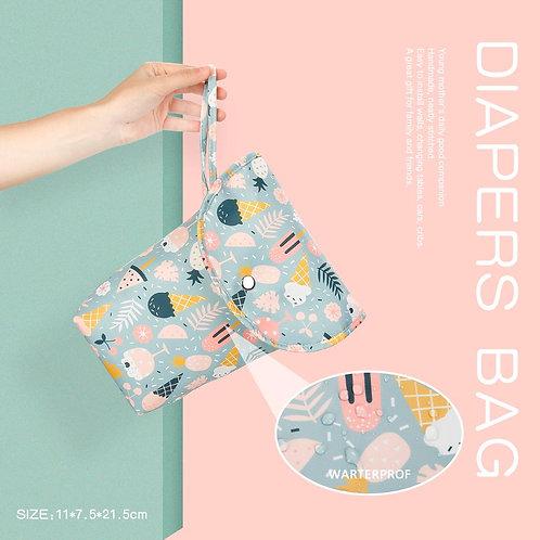 Multifunctional Baby Diaper Organizer Reusable Waterproof Fashion Prints Wet/Dry