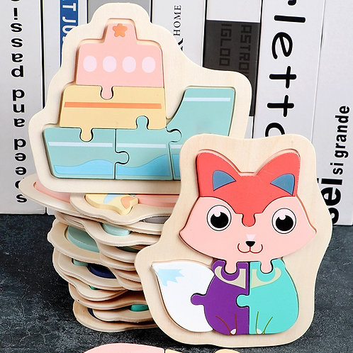 Kids Wooden 3D Puzzle Jigsaw for Children Cartoon Animal Vehicle Wood Puzzle