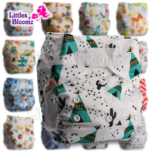 [Littles&Bloomz] Baby Washable Reusable Real Cloth STANDARD Hook-Loop Pocket