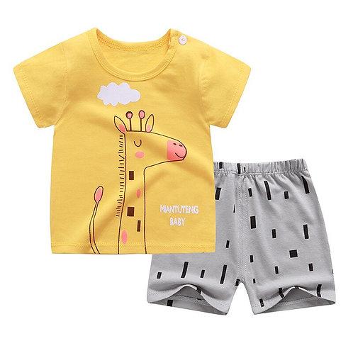 Summer Children's Short-Sleeved Shorts Suit Cotton Cute Cartoon T-Shirt