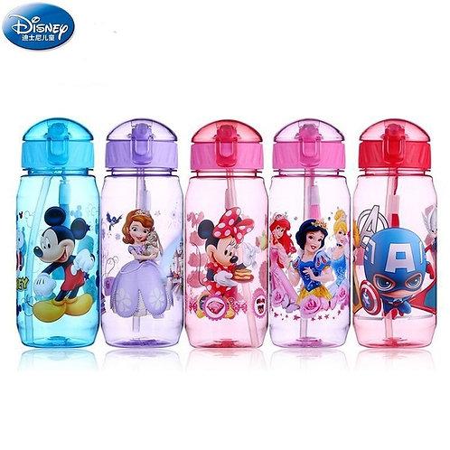Disney Cartoon Mickey Minnie Princess Sophia Children's Plastic Water Cup Straw