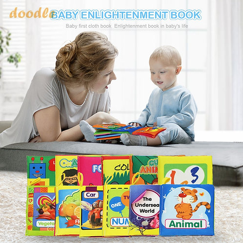 Coolplay Soft Cloth Books Development Educational  Baby Book Colors Animal Shape