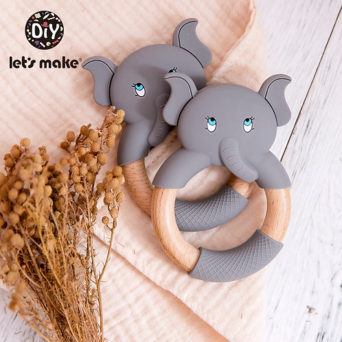 Make 1pc Baby Silicone Teether Cartoon Elephant Teething Toy Beech Wood Ring