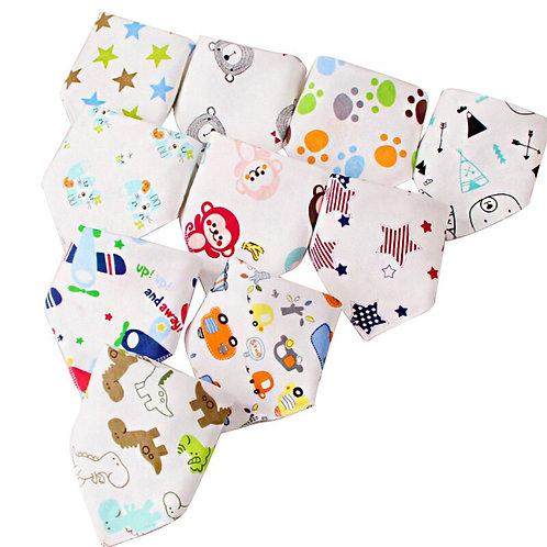 10 Pcs/Lot Bandana Bibs Baby Cotton Burp Cloths Newborn Infant Toddler