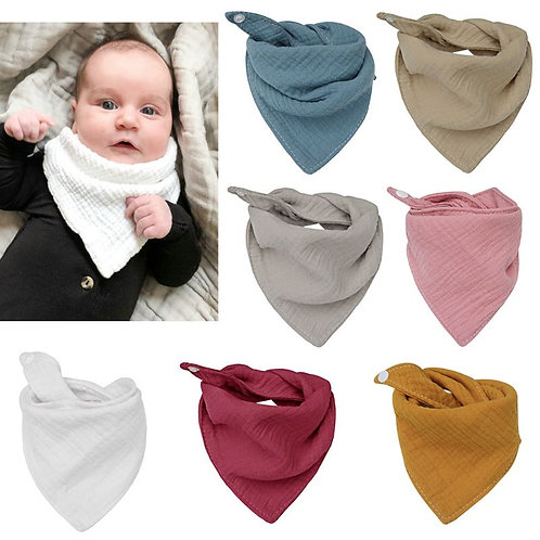 Baby Infant Cotton Bib Newborn Solid Color Triangle Scarf Feeding Saliva Towel