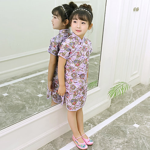Girl Cheongsams Dress Chinese Traditional Costumes Butterfly&Bird Tang Suit