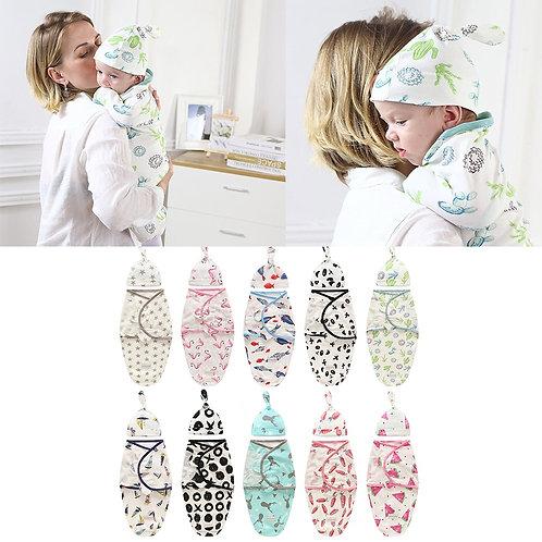 Baby Swaddle Blanket + Cap Newborn Cocoon Wrap Cotton Swaddling