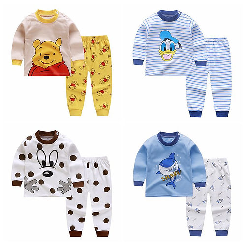 2020 Autumn Children's Cotton Newborn Baby Boys Girls Cotton Underwear Set Long